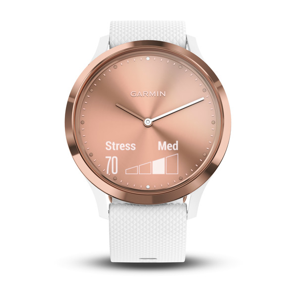 vivomove™ HR Rose Gold with White Silicone Band Small/Medium
