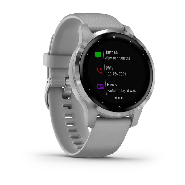 vivoactive® 4S Silver Stainless Steel Bezel with Powder Gray Case and Silicone Band