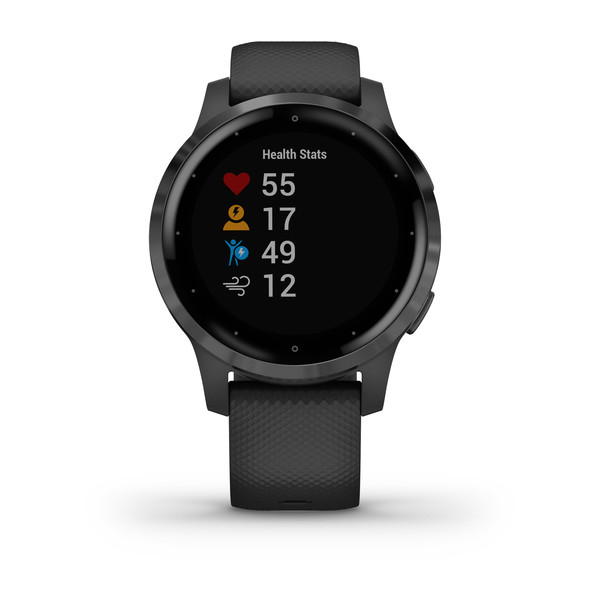 vivoactive 4S Slate Stainless Steel Bezel with Black Case and Silicone Band