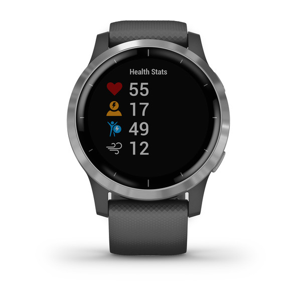 vivoactive® 4 Silver Stainless Steel Bezel with Shadow Gray Case and Silicone Band