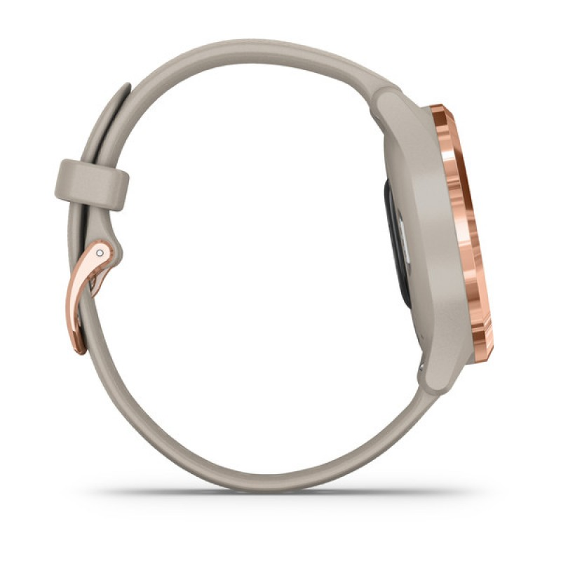 vIvomove® 3S Rose Gold Stainless Steel Bezel with Light Sand Case and Silicone Band