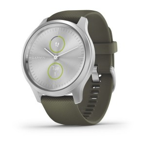 vivomove® Style Silver Aluminum Case with Moss Silicone Band