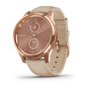 vivomove® Luxe 18K Rose Gold PVD Stainless Steel Case with Light Sand Italian Leather Band