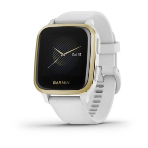 Venu® Sq Light Gold Aluminum Bezel with White Case and Silicone Band