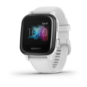 Venu® Sq – Music Edition Slate Aluminum Bezel with White Case and Silicone Band